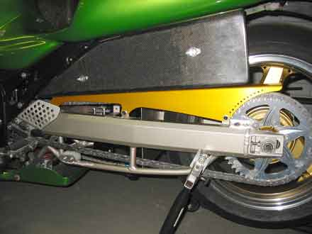 ZAP Racing Drag Bike Shark Guard up close